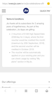 Jio 2 year celebration offer