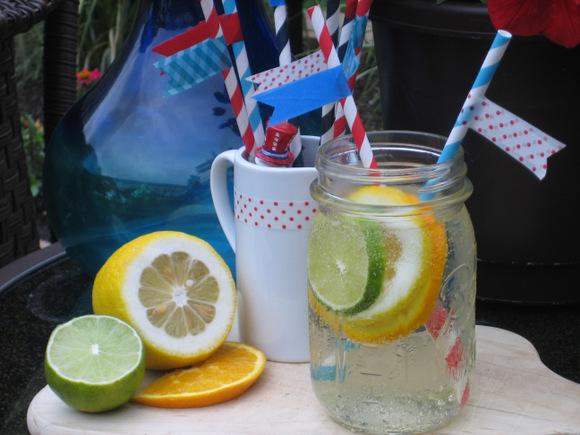 Sangria Recipe and patriotic straws