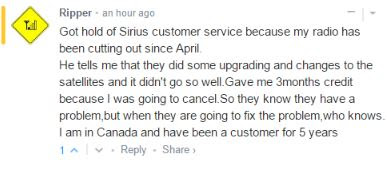 Comment about SiriusXM customer getting credit for poor reception