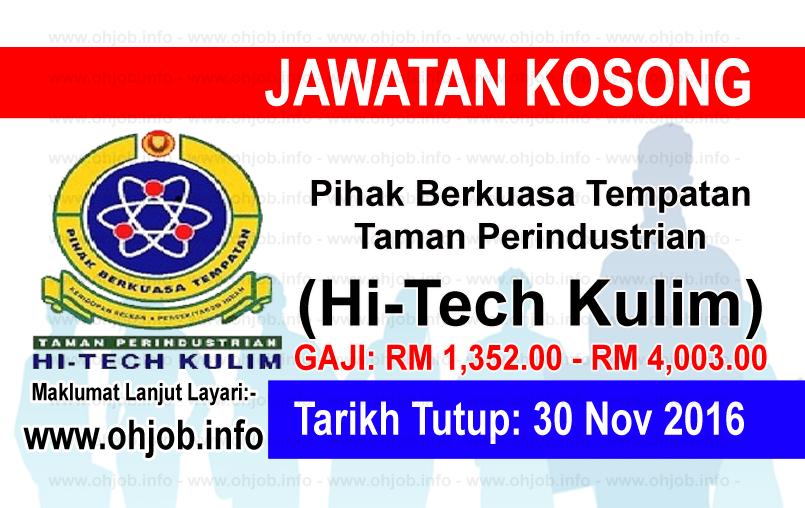 Jawatan Kerja Kosong Pihak Berkuasa Tempatan Taman Perindustarian Hi-Tech Kulim logo www.ohjob.info november 2016