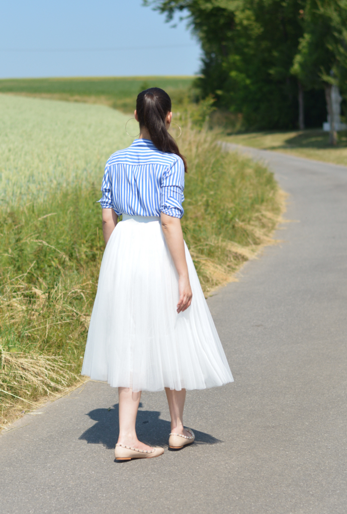 Striped Shirt, Tulle Skirt, Stripes