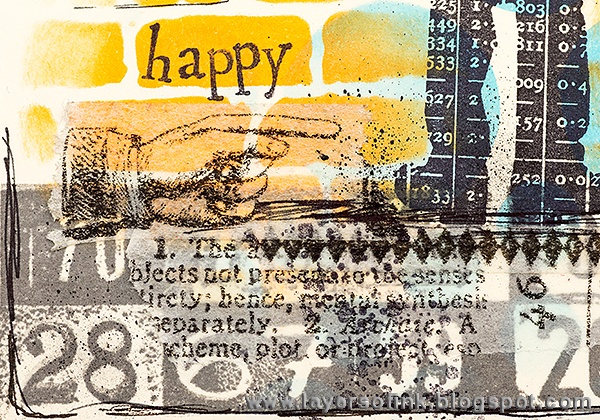 Layers of ink - Singing in the Rain art journal page with Ranger Dylusions and Tim Holtz products, by Anna-Karin