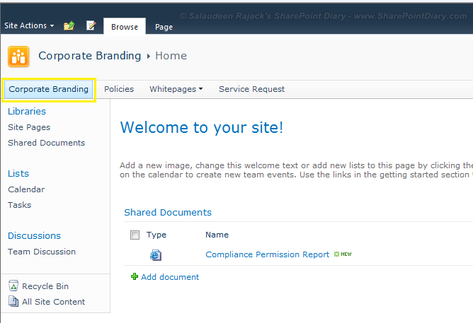 sharepoint hide home tab