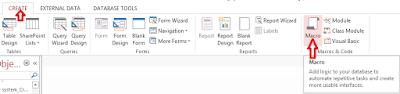 Click macro under the create tab