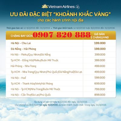 Khuyến mãi Khoảnh Khắc Vàng mới nhất của Vietnam Airlines cho các chựng bay nội địa