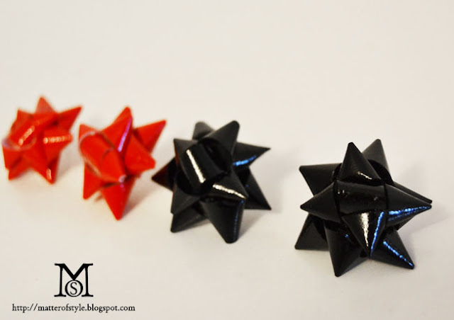 gift bow earrings diy, do it yourself, fashion diy, how to make gift bow, gift idea