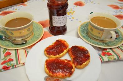Mermelada de caquis y  naranja con jengibre y ron