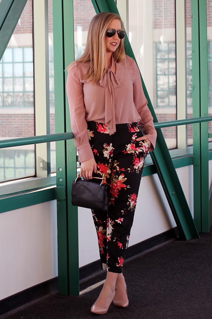 boston style blogger, spring floral pants, flower pants for spring, dressy floral pants, dressy spring pants, boston style blog, what i wore, loft floral track pants, floral track pants