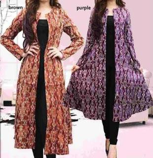 Model gamis cardigan batik panjang modern casual