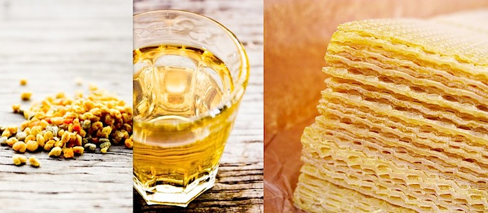 fresh pollen from honey bees, honey in a glass, and organic honeycomb