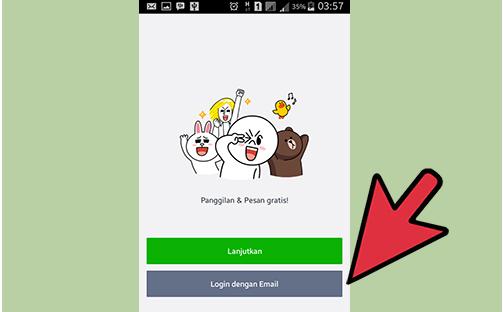 Buka Aplikasi LINE, saat LOGIN, pilih menu Login dengan Email.