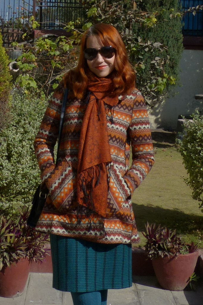 Printed coat in copper with large pockets