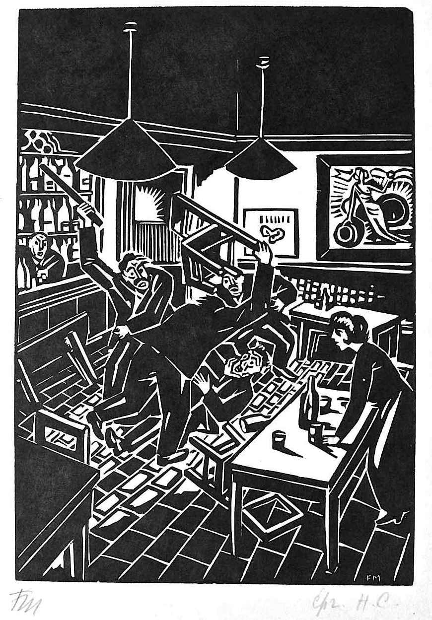 a Franz Masereel woodcut of a beating