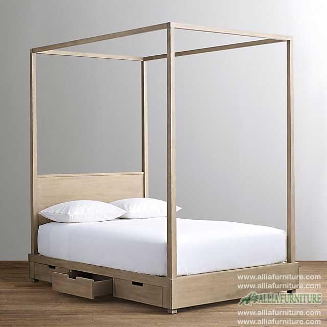 tempat tidur minimalis kanopi laci kuta