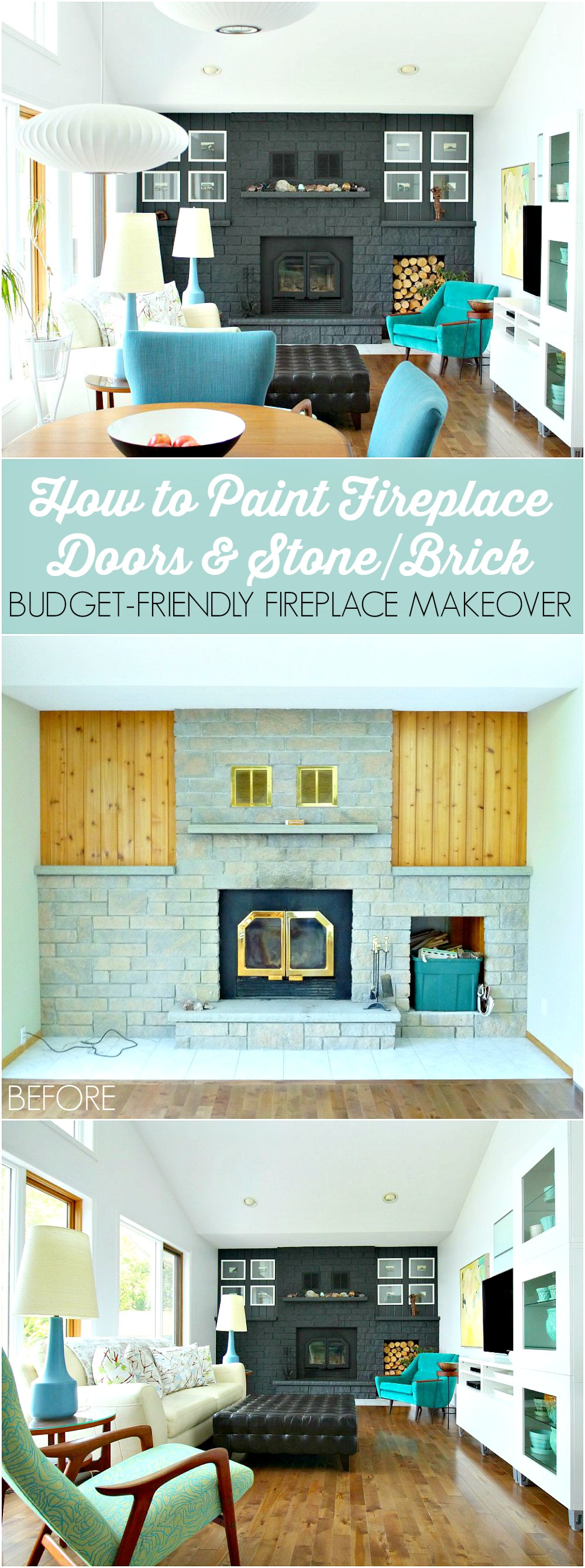 How to paint a stone or brick fireplace a deep charcoal grey - plus tutorial for how to paint fireplace doors and vents // @danslelakehouse