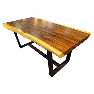 meja makn kayu meh kaki besi