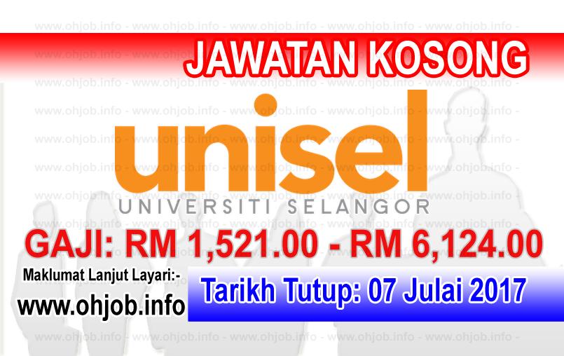 Jawatan Kerja Kosong Universiti Selangor - UNISEL logo www.ohjob.info julai 2017