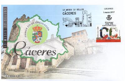 Sobre primer día Cáceres, 12 sellos, 12 meses, 12 provincias
