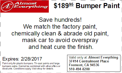 Discount Coupon $189.95 Bumper Paint Sale February 2017