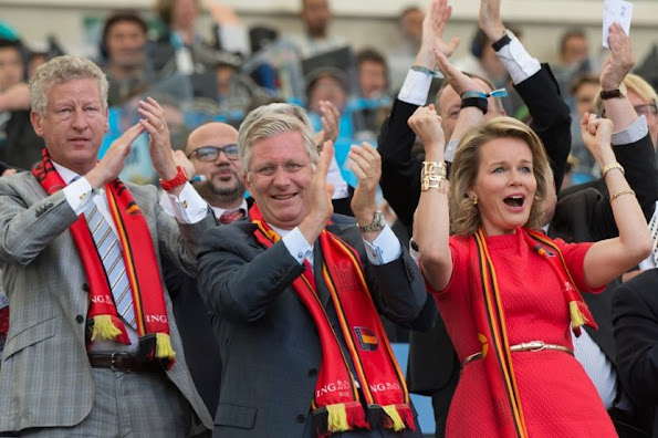 King Philippe and Queen Mathilde at European Championship match of between Hungary and Belgium