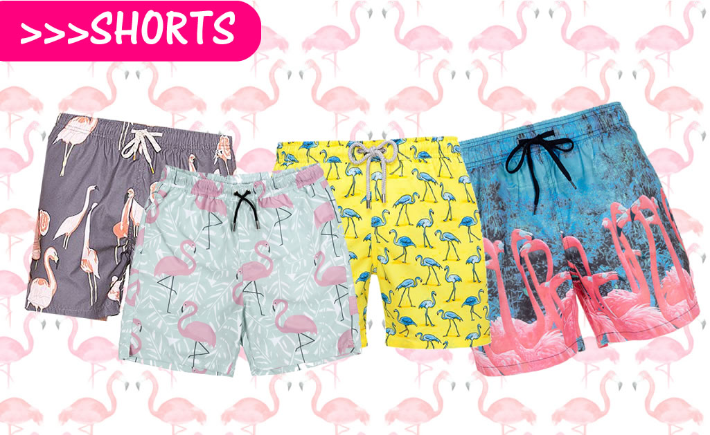 shorts masculinos estampados flamingos.