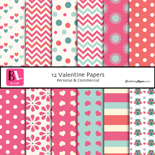 Variety of digital valentine papers in pink, cream, aqua.