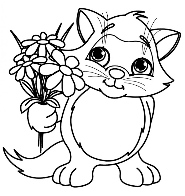 Amazing Cute Little Cat With Spring Flower Coloring Pages For Flowers  Coloring Pages Rose