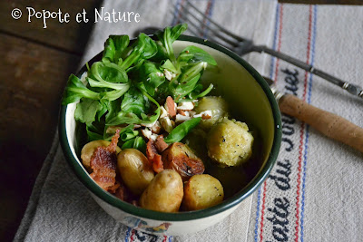 Buddha bowl aux rattes du Touquet, aux choux de Bruxelles et lard fumé © Popote et Nature