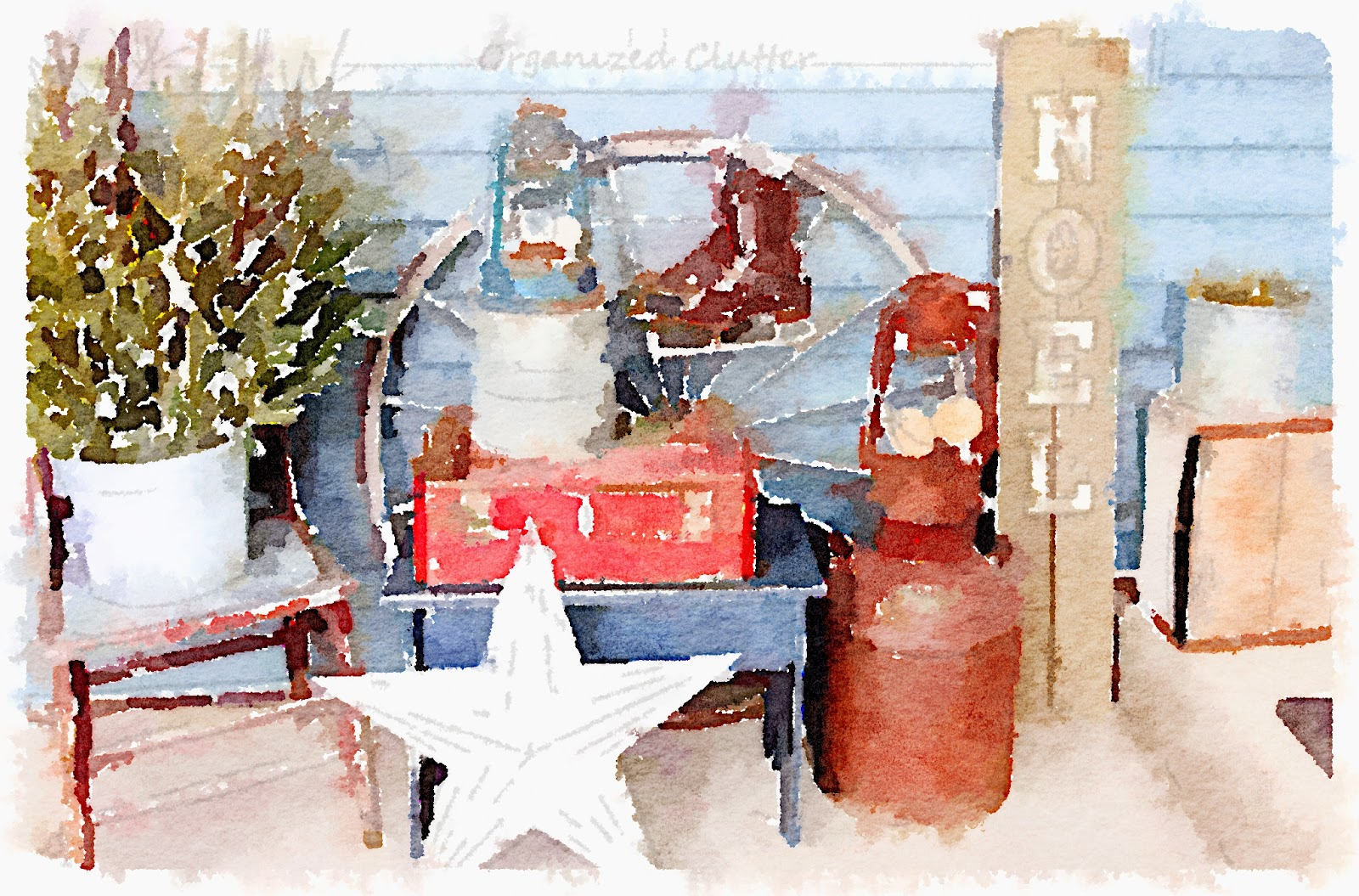 Waterlogue Outdoor Rustic Christmas Vignette www.organizedclutterqueen.blogspot.com