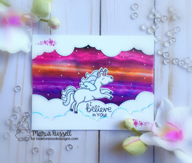 Unicorn Card by Maria Russell | Believe in Unicorns Stamp Set & Sky Borders Die set by Newton's Nook Designs #newtonsnook