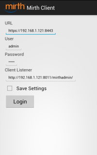 Mirth Client Android - Login
