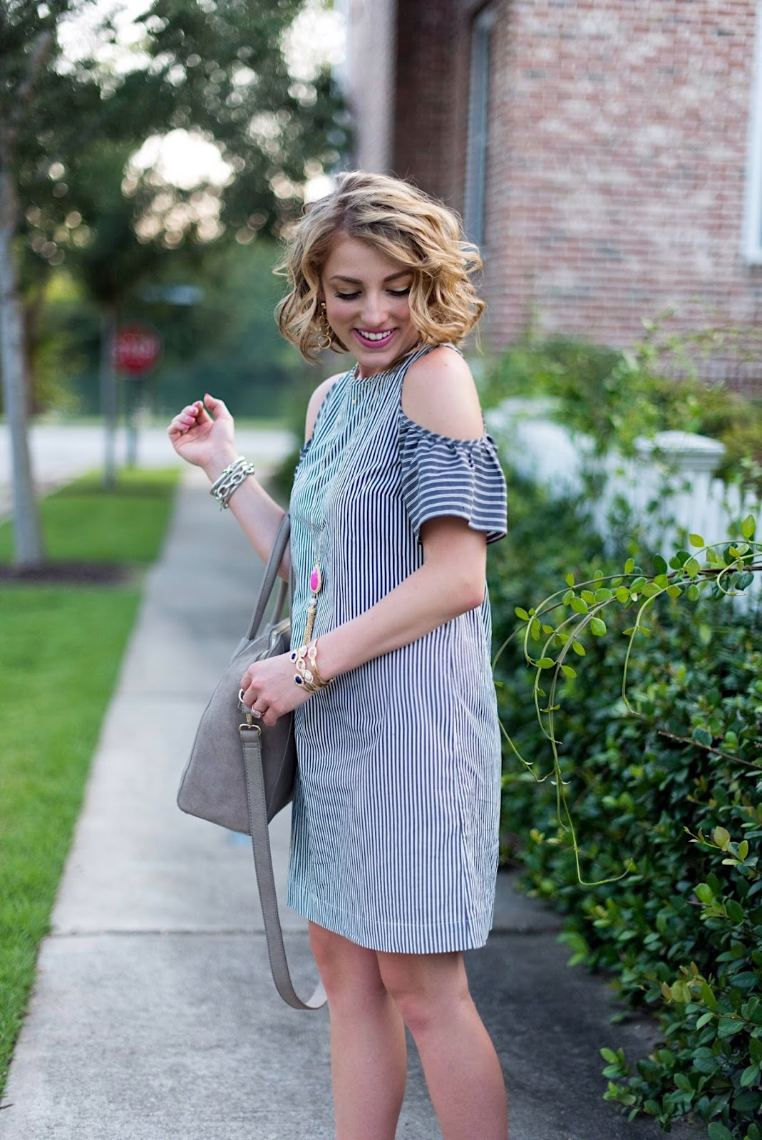 Striped Cold Shoulder Shift Dress - Click through to see more on Something Delightful Blog!