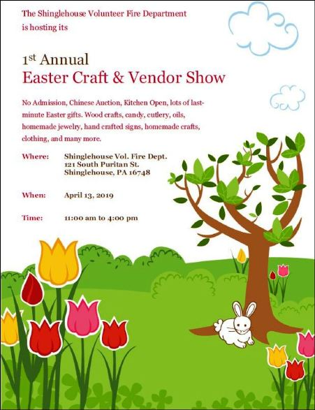 4-13 Easter Craft & Vendor Show, Shinglehouse VFD