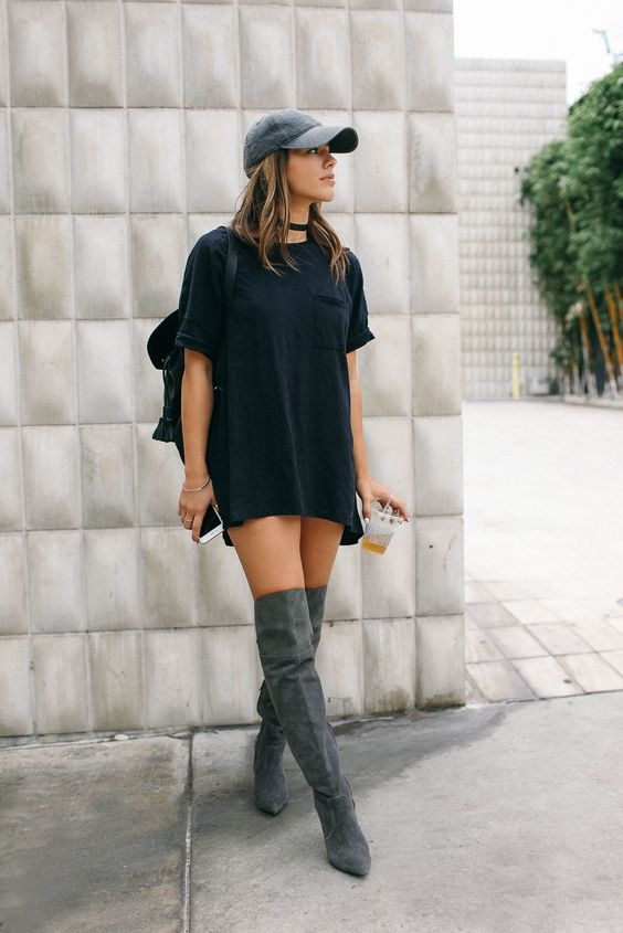 T-shirt Dress, Black Cap, Grey Suede Over the Knee Boots