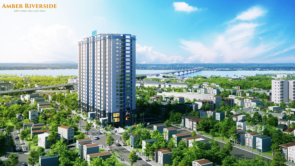Phối cảnh tổng thể chung cư Amber Riverside Minh Khai