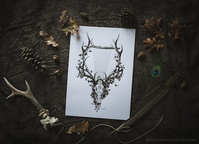 Aker Dantzaria Ink Design Deer Skull Pagan Horned God Cernunnos by Victoria Francés