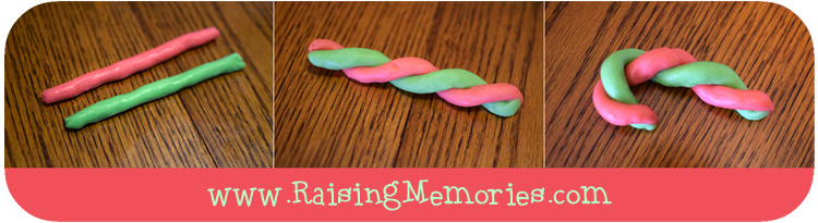 Twisted Candy Cane Play Dough Christmas Cookie Recipe by www.RaisingMemories.com