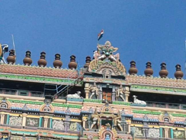Indian Flag Atop Of Eastern Gopuram At Chidambaram Temple