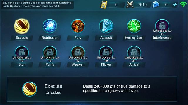battle spell berguna untuk meemperkuat serangan atau variasi lain dalam game