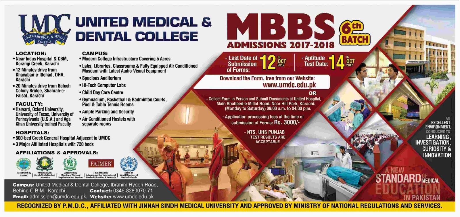 Admissions Open in United Medical and Dental College Karachi - 2017