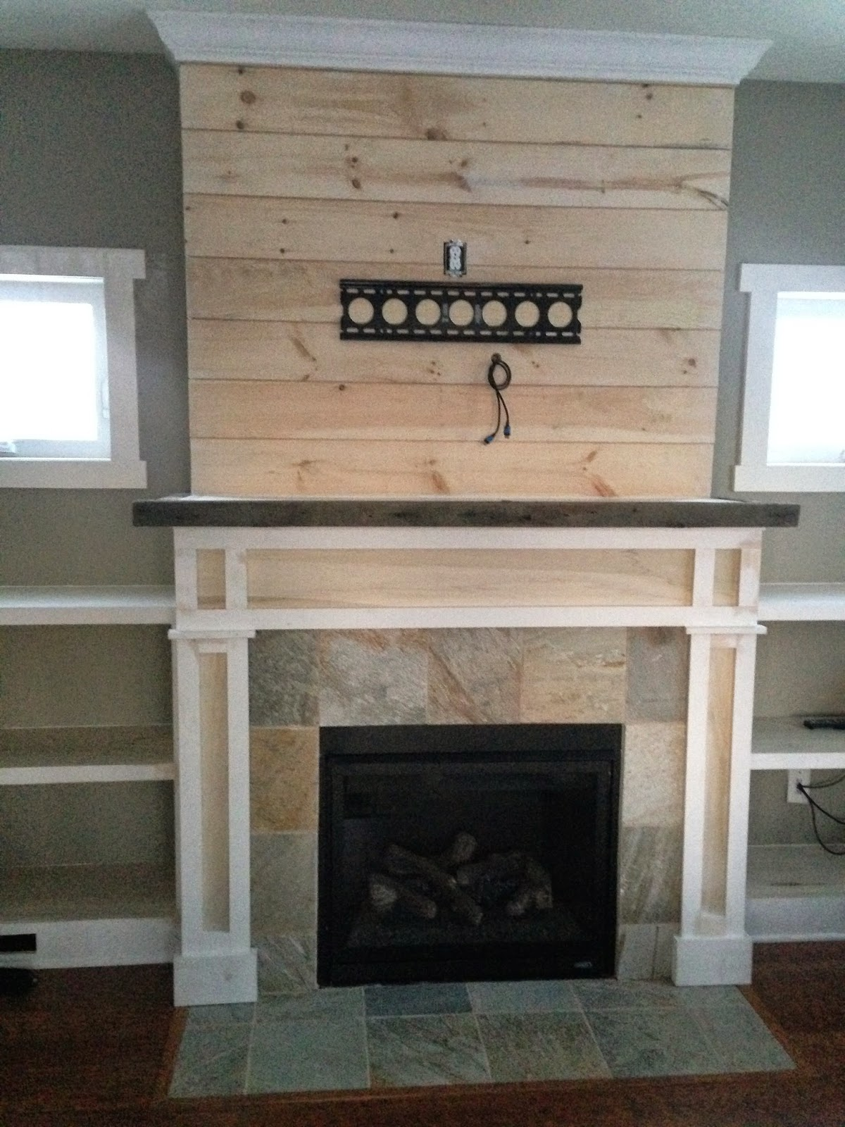 Shiplap Fireplace with Built