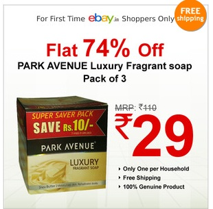 PARK AVENUE Luxury Fragrant Soap (Pack of 3) worth Rs.110 for Rs.29 Only (For First time ebay Shoppers Only)