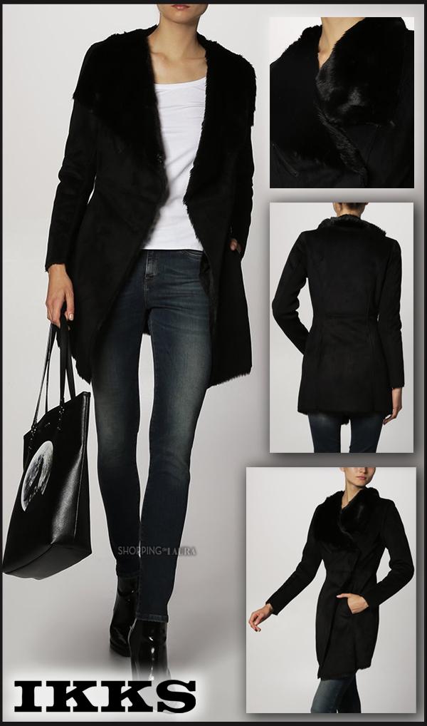 Manteau IKKS court noir fourré en cuir synthétique