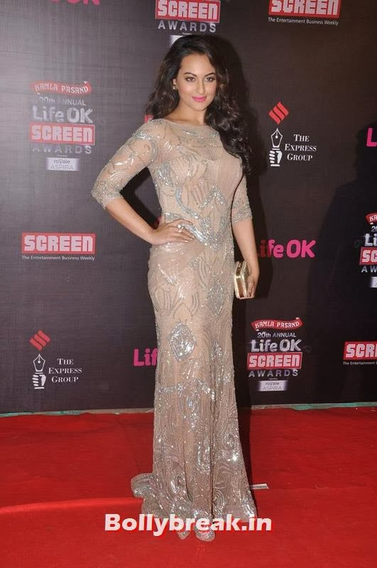 Sonakshi Sinha Gown at Screen Awards 2014, A-List Bollywood Actresses at Screen Awards - Deepika, Sonakshi, Bipasha & Neha