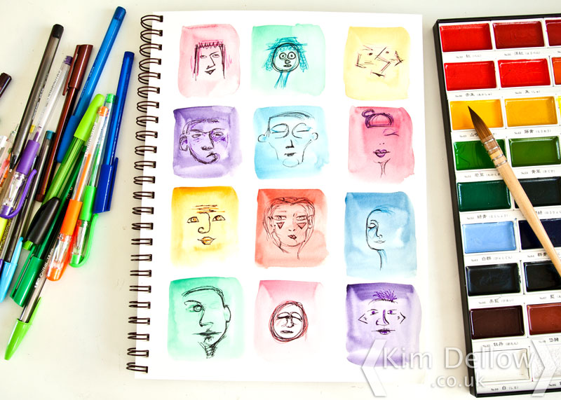Doodled faces in my art journal