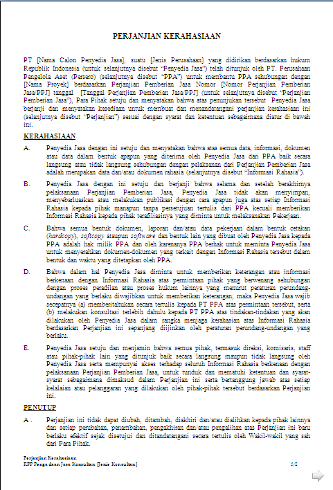 Contoh Surat Perjanjian Kerjasama Usaha Jasa Dan Investasi Merpati