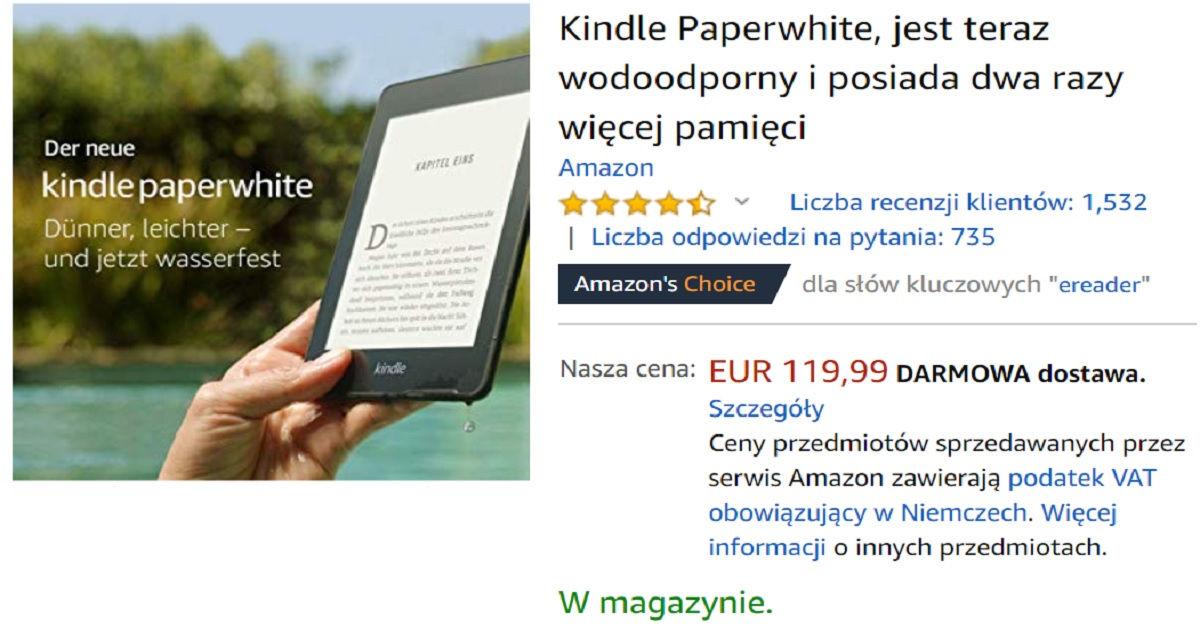 Kindle Paperwhite 4 w wersji z reklamami wysyłany do Polski