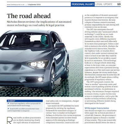 The road ahead, driverless vehicles, UK, motor insurance
