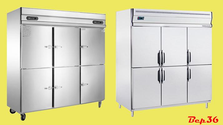 Tủ đông công nghiệp inox 6 cánh đứng 2 chức năng làm mát và lạnh