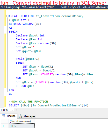 How To Convert From Decimal To Binary In Sql Server Write